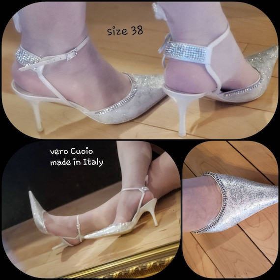 Rhinestone Glitter Prom Wedding shoes/made in Ital