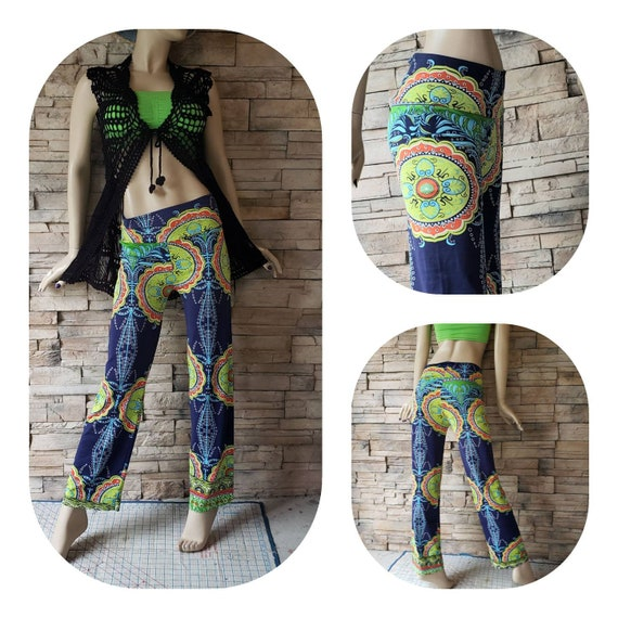 Psychedelic print festival pants
