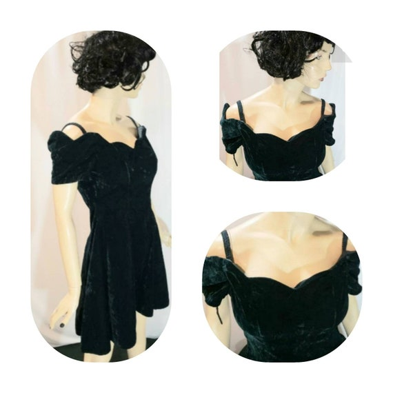Green Off Shoulder Velvet Dress