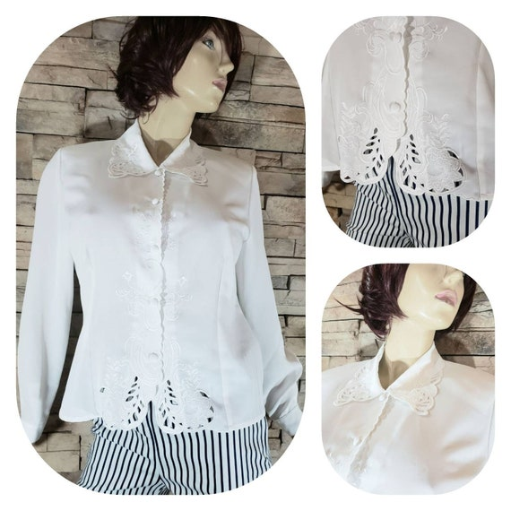 White Eyelet Lace Embroidered 70s Blouse