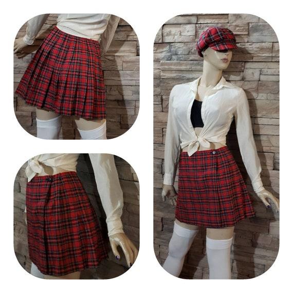 Schoolgirl Costume/ Pleated Wrap Tartan Mini Skirt