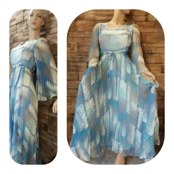 Poet Sleeve Blue Maxi Pleated Floral Dress