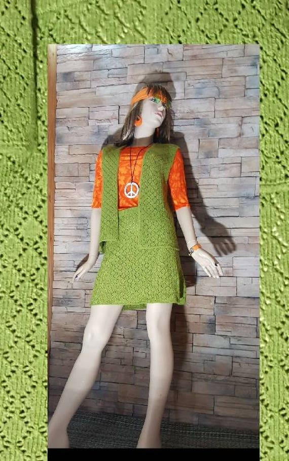 Apple Green knit hippie skirt & top