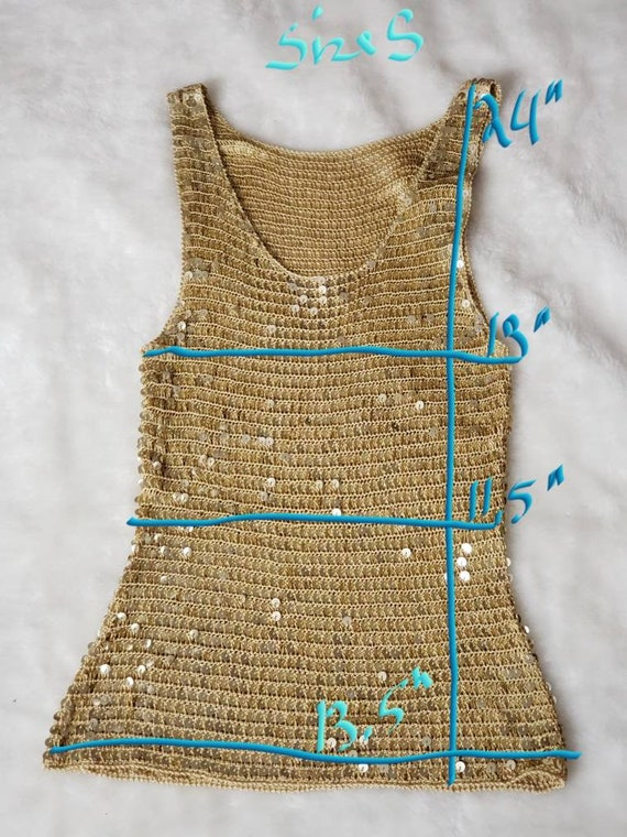 Gold Sequin stretch crop Top - image 8