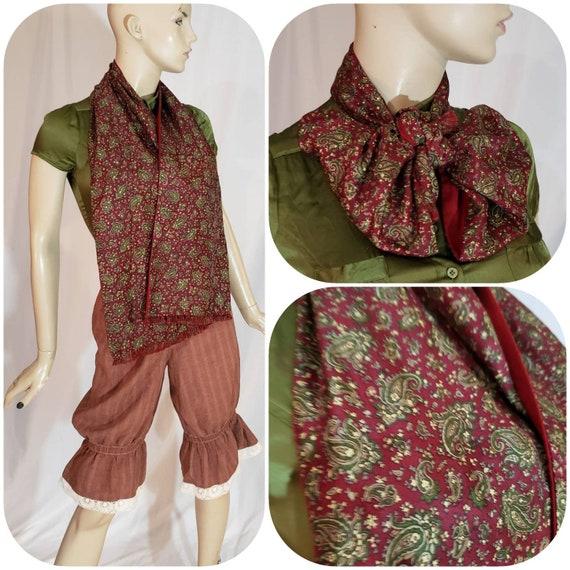 60s burgundy paisley print gentlemen scarf - image 1