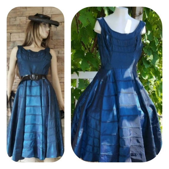 Blue Rockabilly 50s Dress