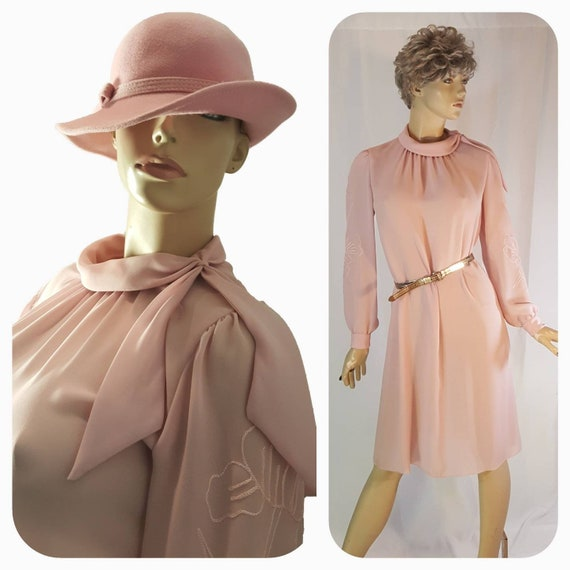 Coral-Pink long Pussy bow  Victorian Dress