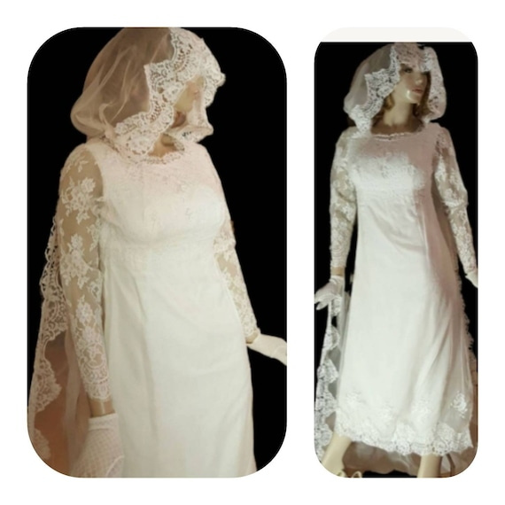 Medieval Wedding Dress  with Hooded Lace Veil