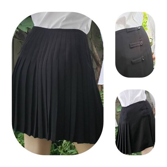 Black Pleated Wrap Skirt