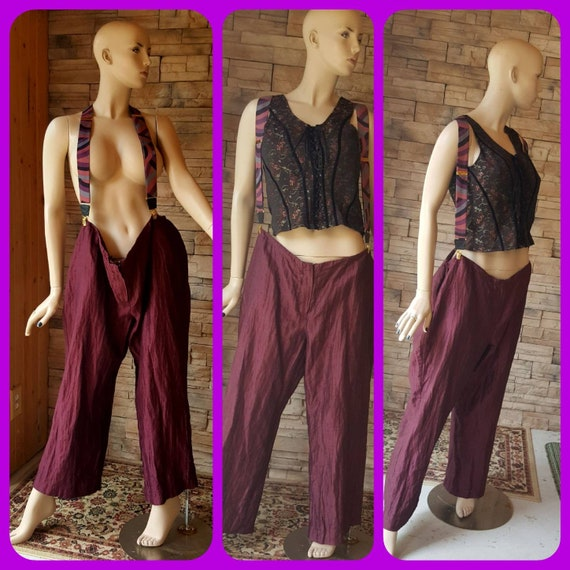 Oversized burgundy pants with suspenders