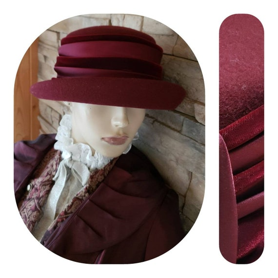 Burgundy Cloche Felt Hat