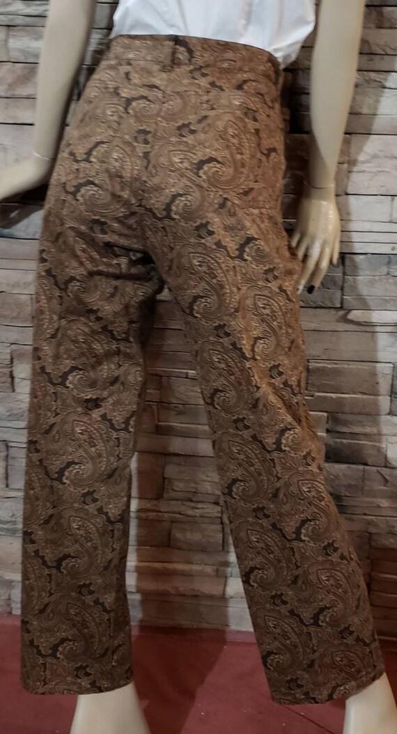 Brown paisley print western steampunk pants