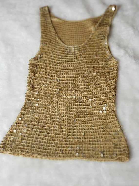 Gold Sequin stretch crop Top - image 9