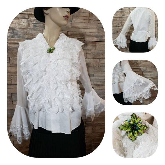 Lace Ruffle Blouse  Bell Sleeves Jabot and Brooch