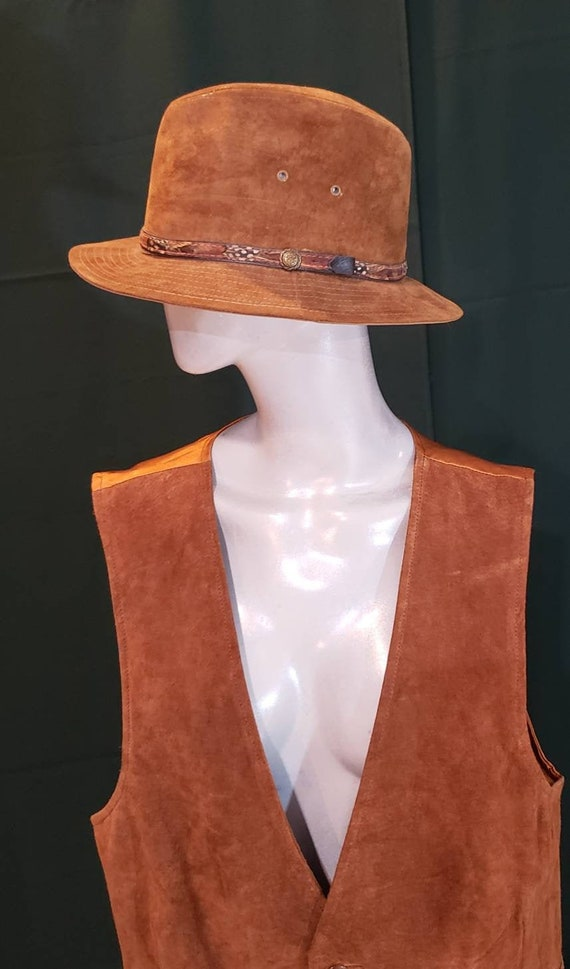 Brown fedora leather hat