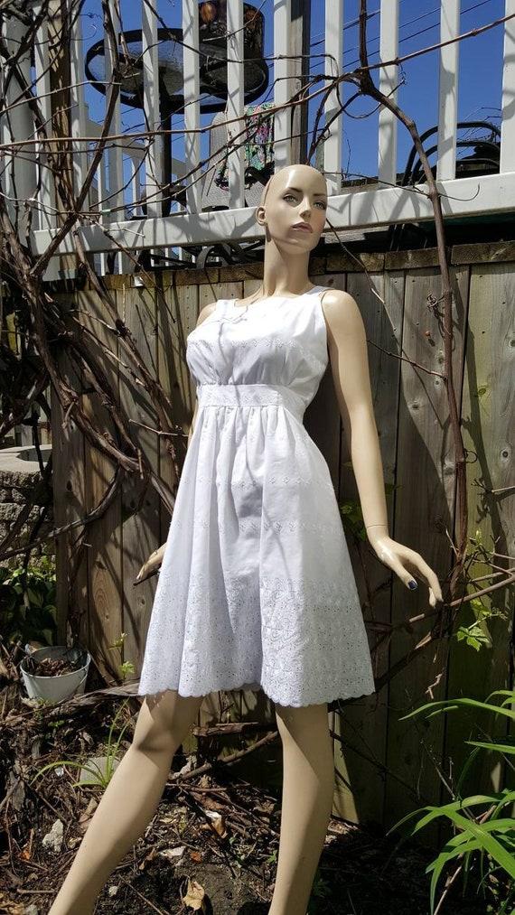 White cotton eyelet Pinafore dress /Alice in wonde