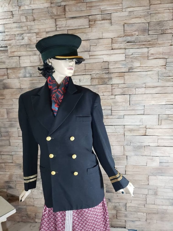 Double breasted navy captain blazer