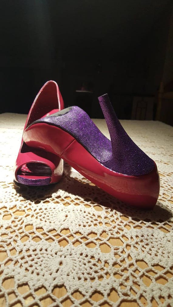 ... b325a 4d8f4 Hot pink purple glitter heels party shoes Open toe shoes  Hig factory outlet ... 5559402abd39
