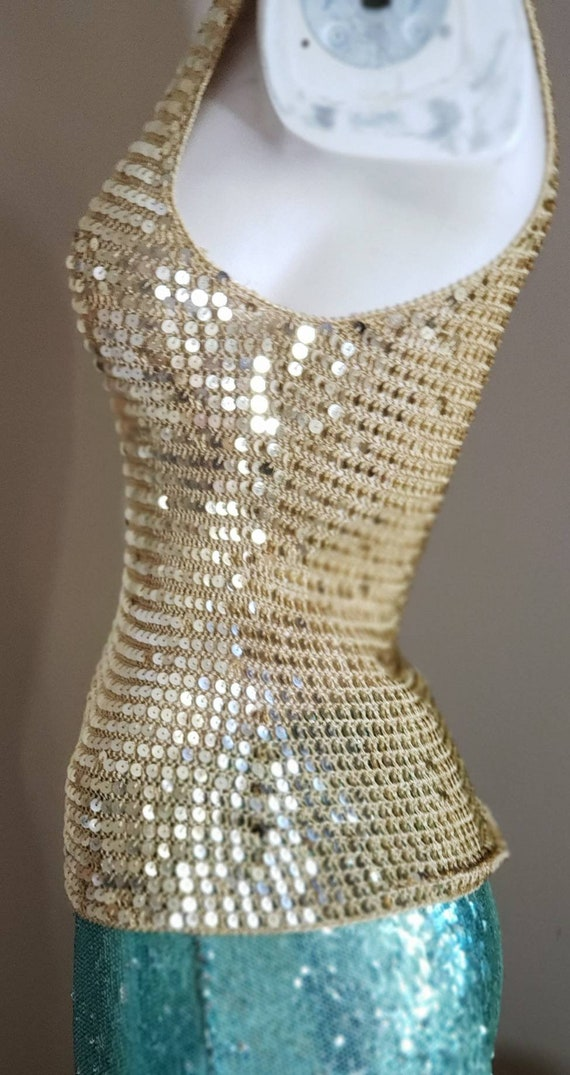 Gold Sequin stretch crop Top - image 5