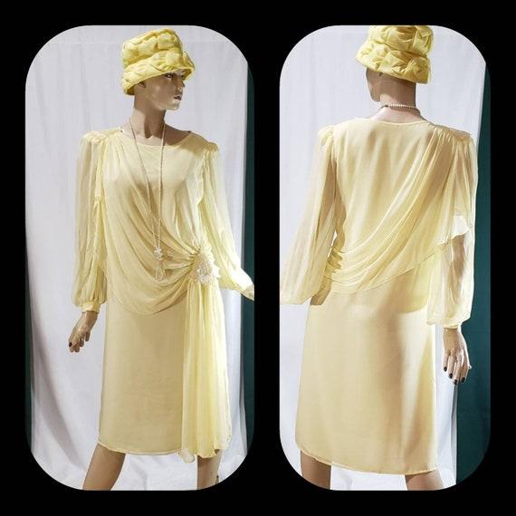 70s does 20s Yellow Long Sleeve Chiffon dress