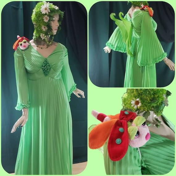 Long Lime Green Woodland Fairy Dress