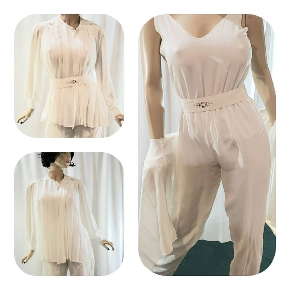 White Chiffon Evening Overalls Blouse Set