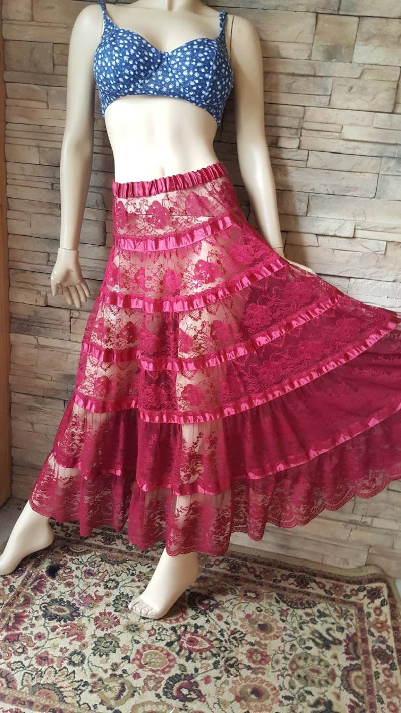 Burgundy Tiered Lace Sheer Skirt Belly Dance Gypsy