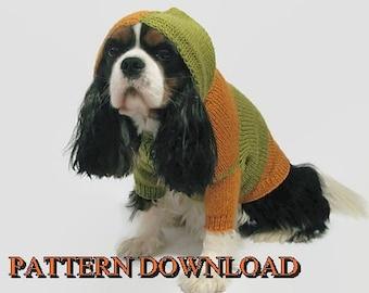 Dog hoodie pattern Dog sweater pattern Dog hoodie Dog sweater Knit dog sweater Dog knit sweater Knitting pattern Cavalier PDF pattern