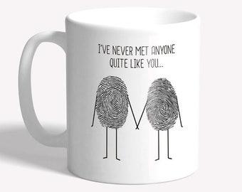 Romantic mug: fingerprint couple, boyfriend or girlfriend gift, anniversary gift, valentine's gift, romantic gift for him for her