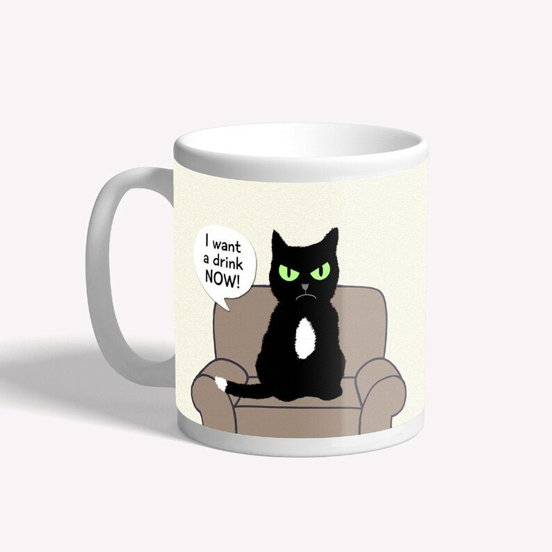 Funny cat mug  I want a drink now  grumpy cat  image 0