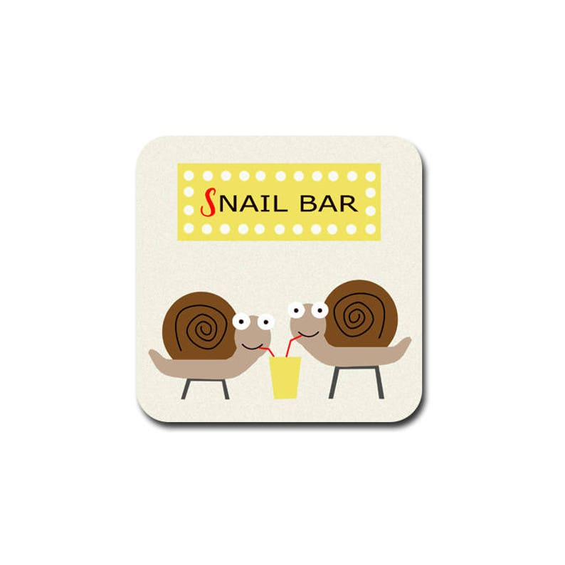 funny coaster  snail bar funny gift for her snail gift image 0