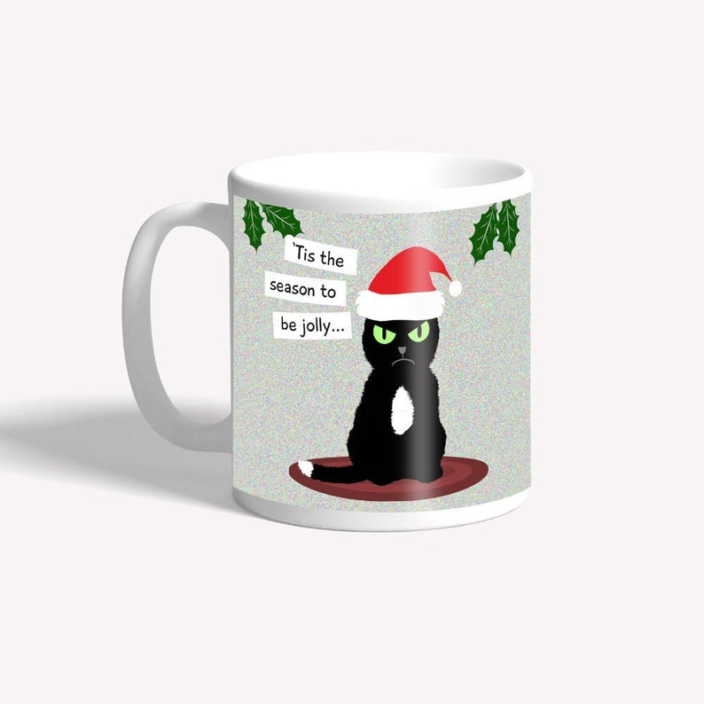 Funny mug: 'Tis the season to be jolly  funny grumpy cat image 0