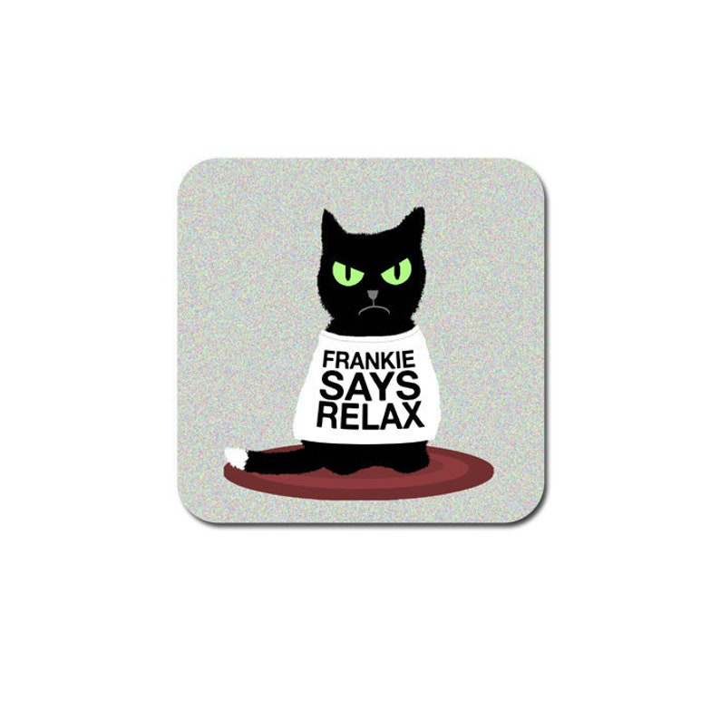funny cat coaster  black grumpy cat  funny drinks coaster  image 0