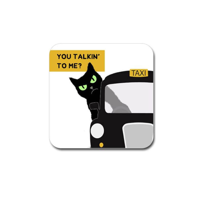 funny cat coaster  black grumpy london cat funny drinks image 0