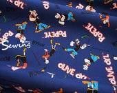 oxford Popeye the sailor man cartoon Anime japan fabric by the 0.5 Yard Navy