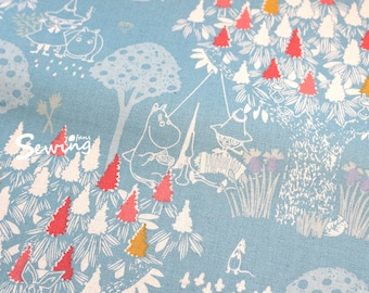 Cotton Linen Moomin comic cartoon Anime japan fabric Light Blue by the 0.5 Yard