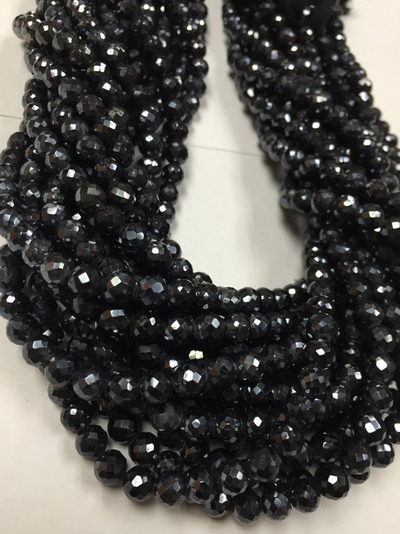 Black spinel  Faceted Balls, 5mm Black Spinel Round Faceted