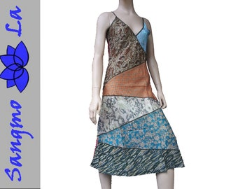 d7f7c2898f862 Kleid Tunika Patchwork S/M Saristoffe bunt recycelt vintage Unikat Indien  indische Stoffe Psy Goa Ethno Hippie Boho