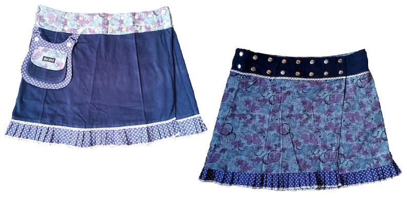 XL Corduroy wrapskirt buttonskirt reversible skirt plussize big size blue skirt cacheur pocketskirt patchwork ethnic bohemian XXL 3XL large