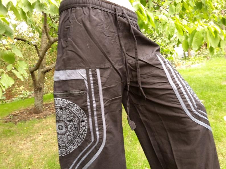 Women trousers pants S XXL black olive green flexible waistband Ethnic bohemian with pockets OM symbol mandala printed warm fall winter