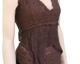 Neckholder top vest with lace size XS-XL larp hippie gipsy festival bohemian goa black brown desert olive red nature