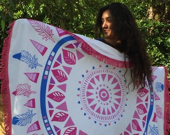 Round Mandala Beach Towel with Fringe ~ SUMMER DREAMS