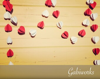 White Red Scalloped Garland/ 3D Birthday garland/ Wedding GARLAND/ Party décor/ Scalloped Hearts/Backdrops/