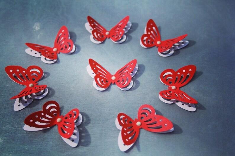 3D RED and White Butterflies Paper Butterflies Butterflies DIE CUT Paper confetti Butterflies for scrapbookingWedding d\u00e9cor