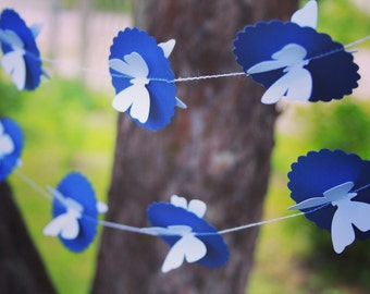 3D Paper Butterflies Garland/ Dark Blue and White Birthday garland/ Wedding GARLAND/ Party décor/ Room décor/  3D Wall Art/Party GARLAND