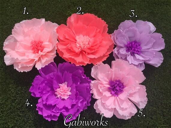 Flor Gigante De Papel Crepe Flores Grandes De Color Rosa Etsy