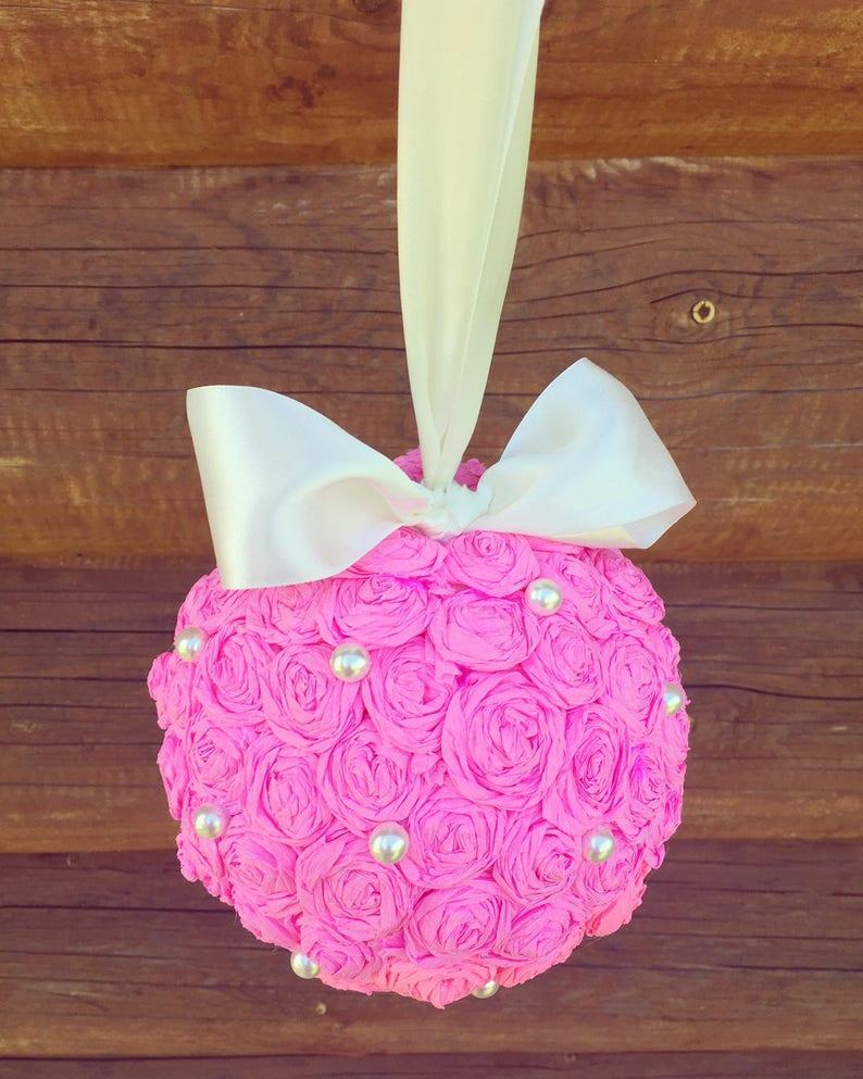 Big Paper Ball Kissing Ball Wedding Ball Hanging Paper Ball Home Decoration Paper Flower Ball Idea For Home Pink Ball
