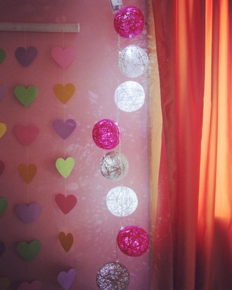 Kid Room LED 2010 MIX Cotton Balls String Wedding decor Handmade Cotton Light Balls WhitePinkGrey Cotton Balls Fairy d\u00e9cor