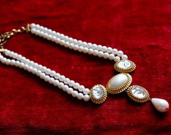 872216fecc3 Vintage YSL Yves Saint Laurent Faux Pearl & Crystal Necklace
