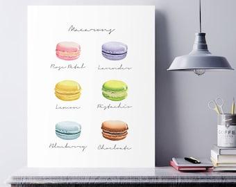 Kitchen Decor, Macaron Print, Kitchen Prints, Kitchen Wall Art, French Macarons, Food art, Macaroon, Macaron Wall Art, Macaron Poster, Print